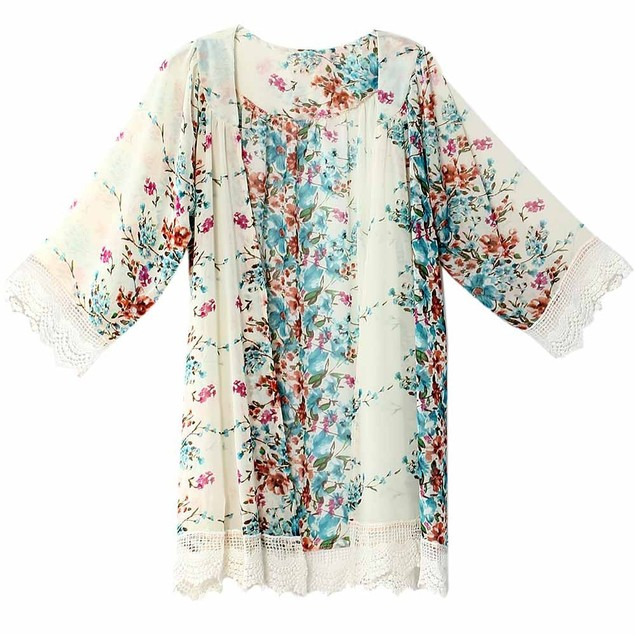 3/4 Sleeve Loose Printed Chiffon Cardigan