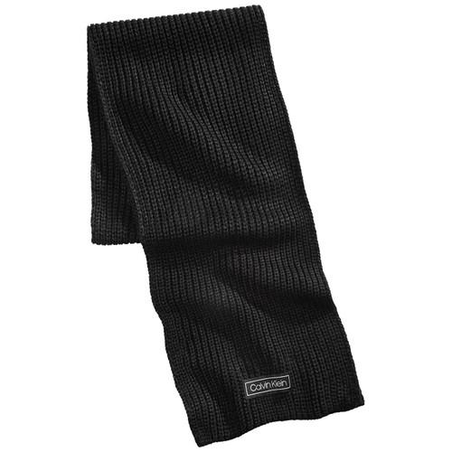Calvin Klein Men's Cardigan-Ribbed Logo Scarf Black Size Regular