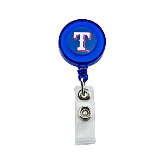 Texas Rangers Retractable Badge Reel Id Ticket Clip MLB Blue