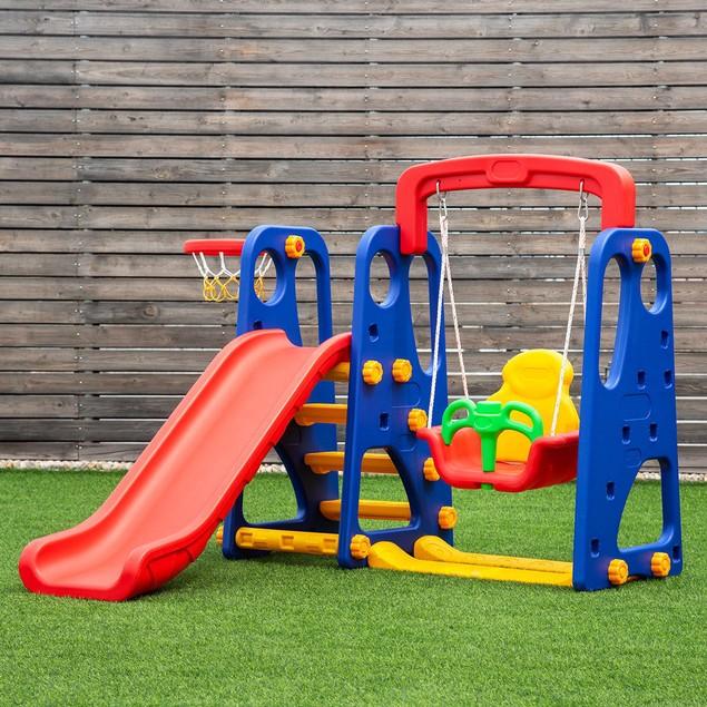 Goplus 3 in 1 Junior Children Climber Slide Swing Seat Basketball Hoop Play