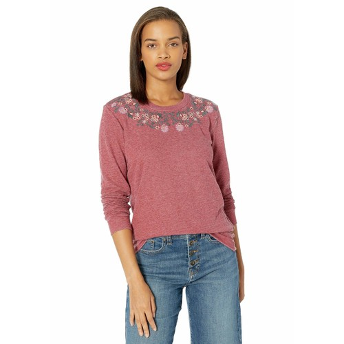 Lucky Brand Women's Necklace Embroidered Sweatshirt Red Size Small