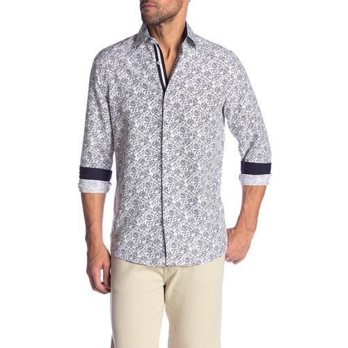 Rosso Milano Modern Fit Long Sleeve Purple Herringbone Dress Shirt