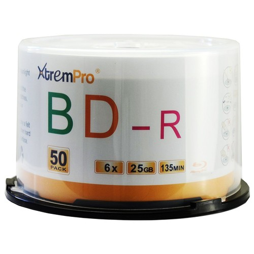 BD-R 6X 25GB 135Min Blu-Ray 50 Pack Blank Discs in Spindle