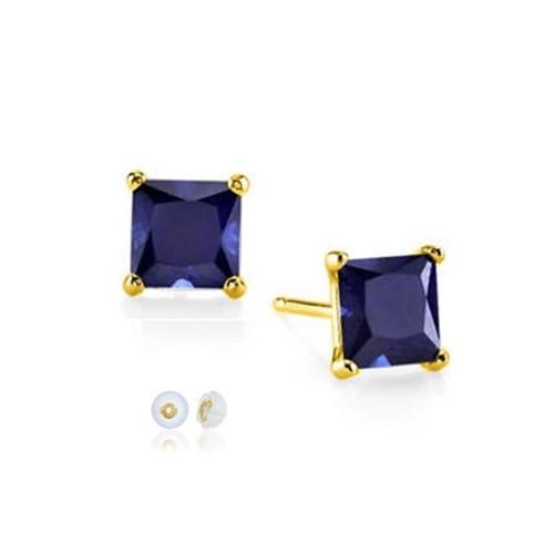 14K Solid YG Square 8mm Light Basket Setting Blue Sapphire Stud Earrings