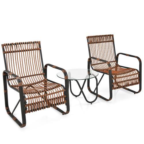 Costway 3PCS Patio Rattan Furniture Set Conversational Sofa Coffee Table Ga