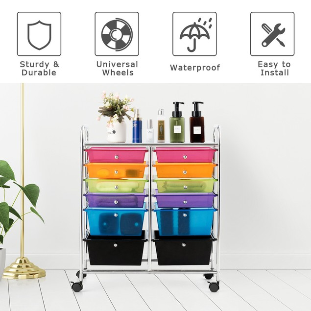 Costway 12 Drawers Rolling Cart Storage Mutlicolor Scrapbook Paper Studio O