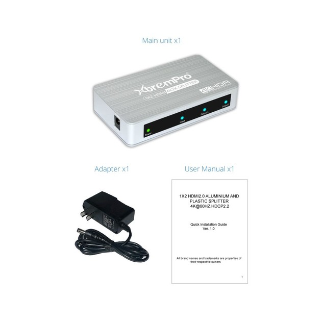 XTREMPRO HM-SP102APT 1X2 HDMI2.0 SPLITTER 4K@60HZ.HDCP2.2