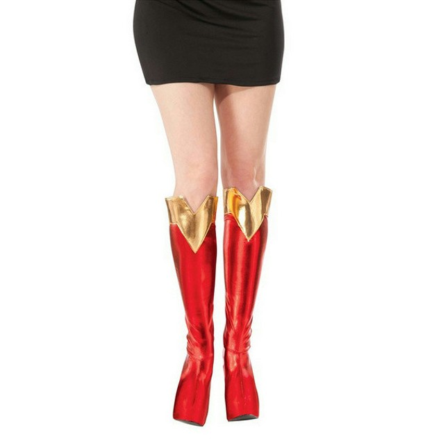 Toppers Womens Adult Super Hero Cosplay Supergril Boot Tops Adult Red/Gold