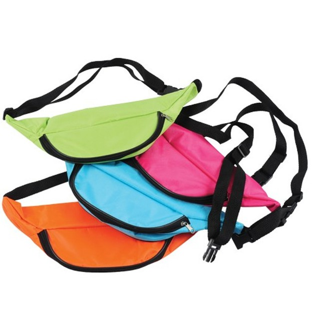 Neon Fanny Pack Green Bag Bright Rave Club Festival 3 Pocket Adjustable