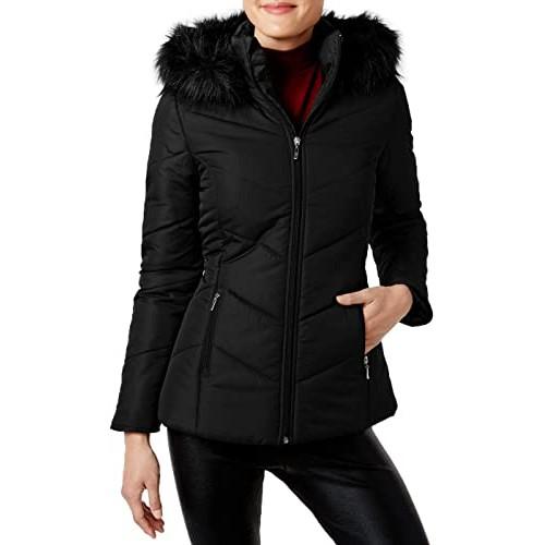 Maralyn & Me Juniors' Hooded Faux-Fur-Trim Puffer Coat Black Size Small