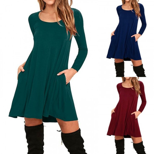 Long Sleeve Sling Dress with Pockets - 4 Colors