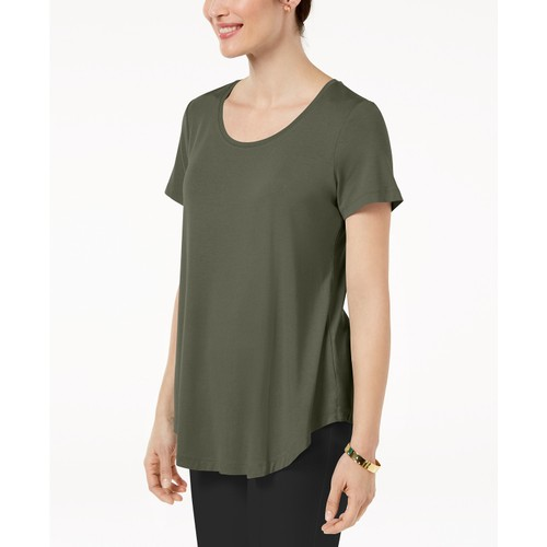 JM Collection Women's Collection Scoop-Neck Top Green Size Small
