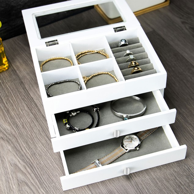 White Beauty Box with Glass Lid | MandW