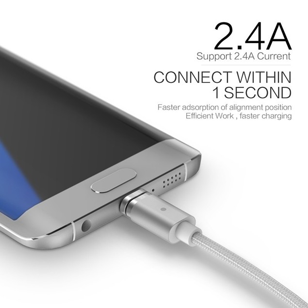 (2.4A)  Magnetic Micro USB SYNC Data Charging Cable Charger Adapter Android