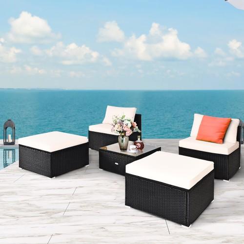 Costway 5PCS Patio Rattan Wicker Furniture Set Armless Sofa Ottoman Cushion