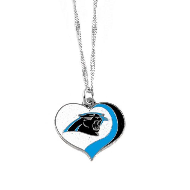 Carolina Panthers NFL Glitter Heart Necklace Charm Gift