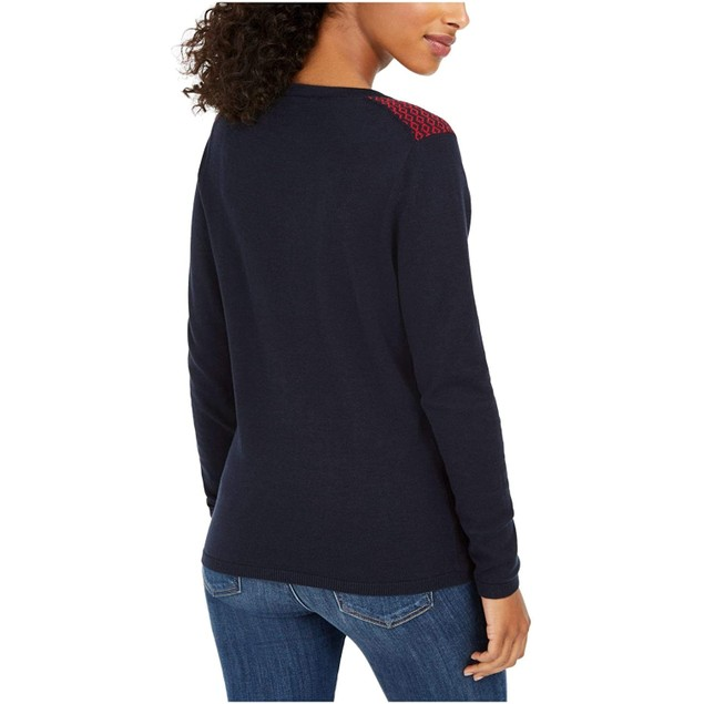 Tommy Hilfiger Women's Fair Isle Ivy Cotton Sweater Blue Size X-Small
