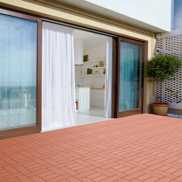 Set of 6 Patio and Deck Tiles Outdoor Flooring for Water Drainage