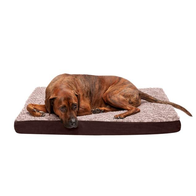 FurHaven Two-Tone Faux Fur & Suede Deluxe Memory Foam Pet Bed