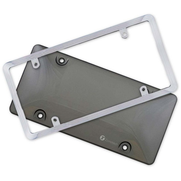 Zone Tech Bubble Smoked Tinted License Plate Tag Shield Cover Chrome Frame