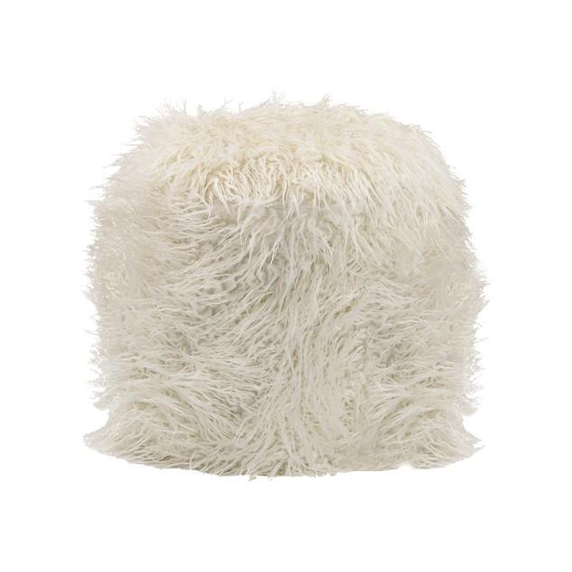 Sterling Betty Retro Ottoman - White Fur/Silver