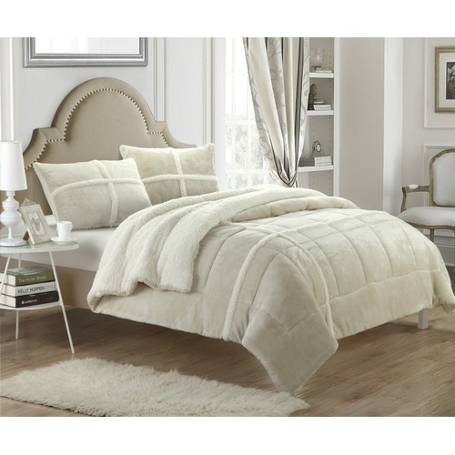 Chic Home Carterina 3-Piece Sherpa Lined Plush Microsuede Comforter Set