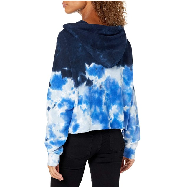 Calvin Klein Wo High Tide Tie-Dyed Cropped Hoodie Blue Extra Large