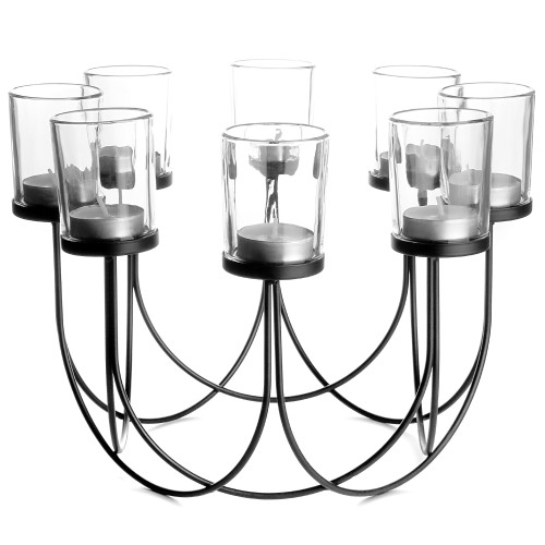 8 Tealight Candle Holder   MandW Black