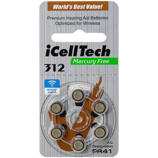 iCellTech Size 312 MF Zinc Air Hearing Aid Batteries (60 pack)
