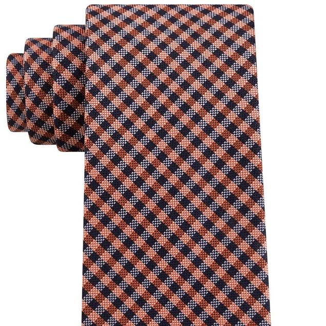Tommy Hilfiger Men's Classic Textured Plaid Tie Orange Size Regular