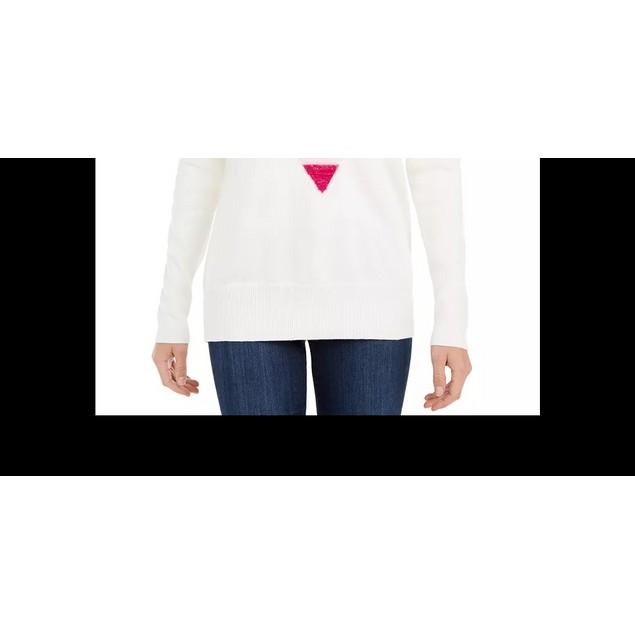 Maison Jules Women's Heart Motif Tunic Sweater White Size Small