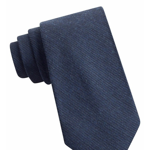 Calvin Klein Men's Denim Solid Slim Tie Navy Size Regular