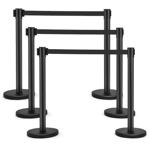 Costway 6Pcs Black Stanchion Posts Queue Pole Retractable Belt Crowd Contro