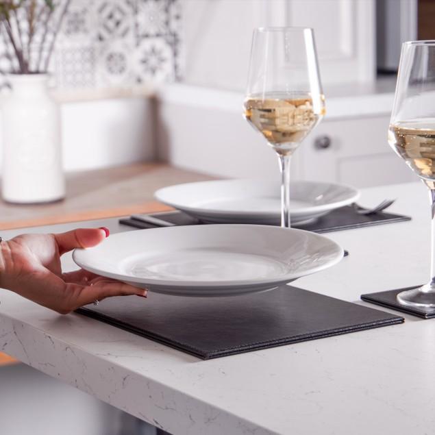 12 Piece Faux Leather Table Set   MandW