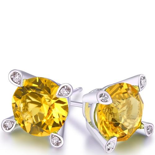 Citrine Stud Earring in 18K White Gold