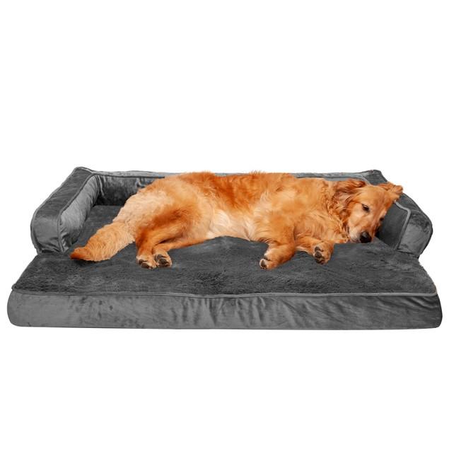 FurHaven Plush & Velvet Comfy Couch Orthopedic Sofa Pet Bed