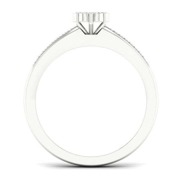 De Couer S925 Sterling Silver 1/6ct TDW Diamond Cluster Bridal Set I-J,I2