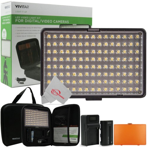 Vivitar Dimmable Brightness 160 LED Video Light On Camera Light with Color Temperature Filter