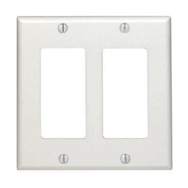 Decora Wall Plate, White, 2 Hole, Dual Gang