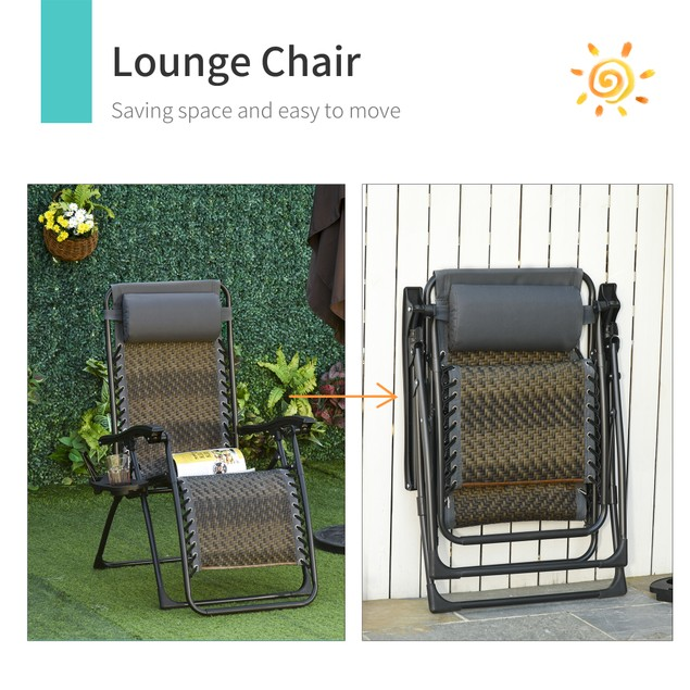 Patio & Backyard Deck Lounge Chair Recliner w/ 2 Cup & Phone Holders, Grey