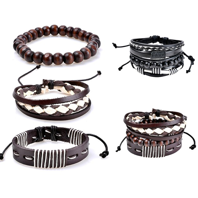 3Pcs Braided Wooden Beads Bracelets Bangles Jewelry for Men