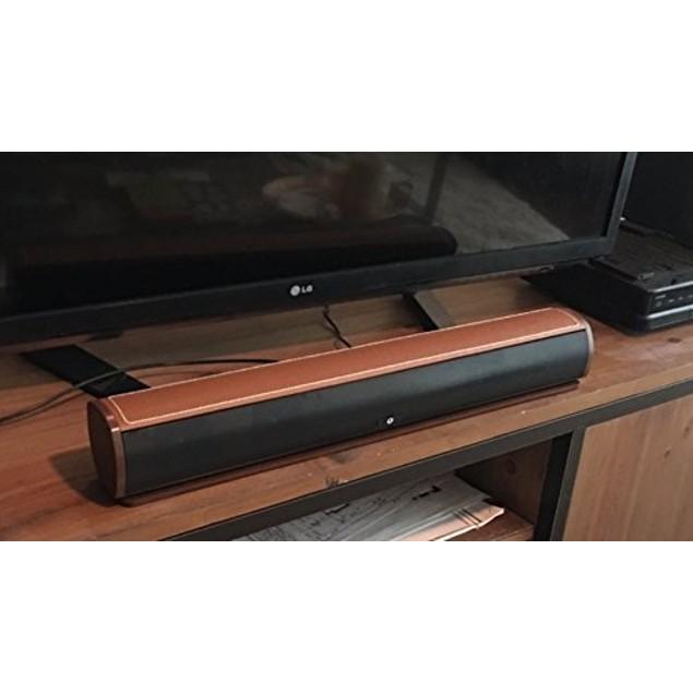"FRESHeBAR 24"" Bluetooth Leather Soundbar with Built-in Subwoofer"