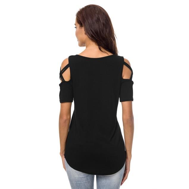 Women's Solid Criss Cross Shoulder Top