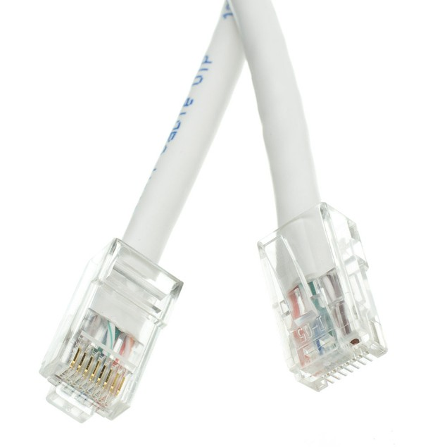 Cat5e White Ethernet Patch Cable, Bootless, 10 foot