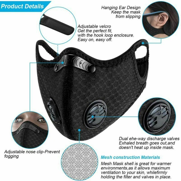 2 PCS Sport Cycling Face Mask With Active Carbon Filter Breathing Valves