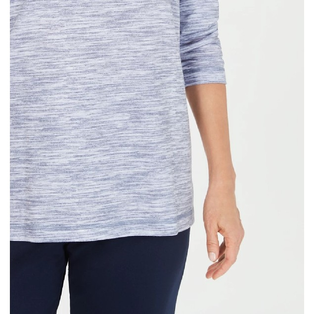 Karen Scott Women's Funnel-Neck Space-Dyed Top Navy Size Extra Large