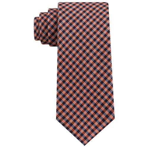 Tommy Hilfiger Men's  Classic Textured Plaid Tie Orange One Size