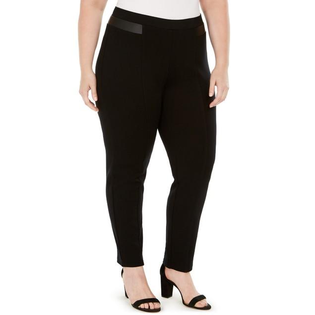 JM Collection Women's Plus Size Faux-Leather-Trim Pants Black Size 24