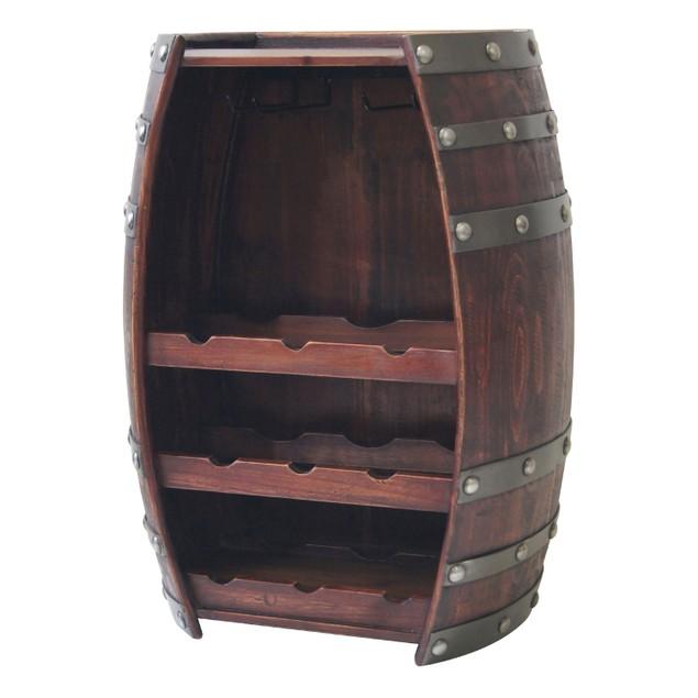 Wine Barrel 9 Bottle Table Wine Holder W/ Glass Wine Racks