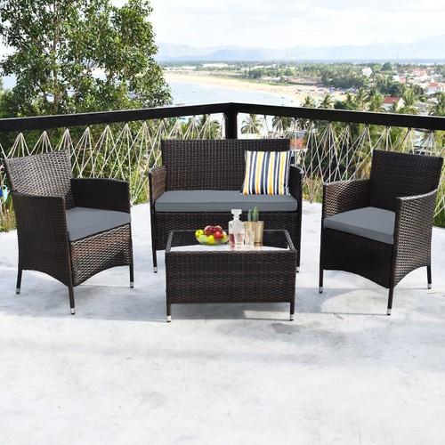 Costway 4 PCS Outdoor Patio Rattan Furniture Set Table Shelf Sofa W/ Gray C